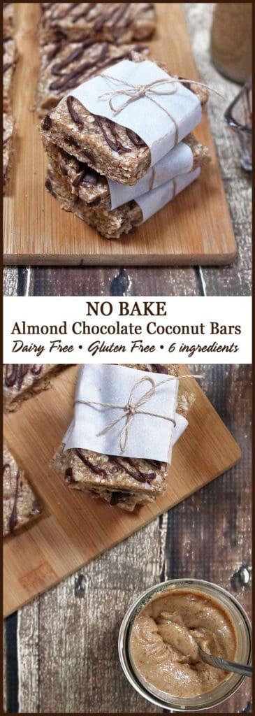No Bake Chocolate Almond Coconut Bars