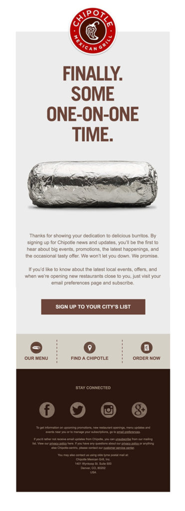 """Chipotle """"finally some one-on-one time"""" restaurant customer appreciation email sample"""