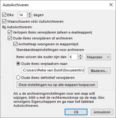Outlook Auto Archiveren instellen