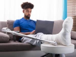 Man with Cast on Leg - Personal Injury Representation - Martin, Harding & Mazzotti 1800law1010