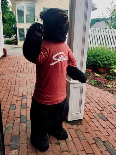 The stowe bear, in his official t-shirt, greets visitors to the stowe mercantile.