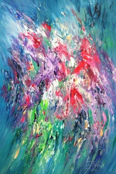 """""""Pink Turquoise Flowery XL 1"""" - Abstraktes Kunstwerk von Peter Nottrott"""