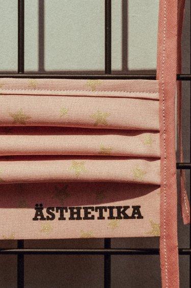 Gesichtsmaske – STERNE rosa/gold detail
