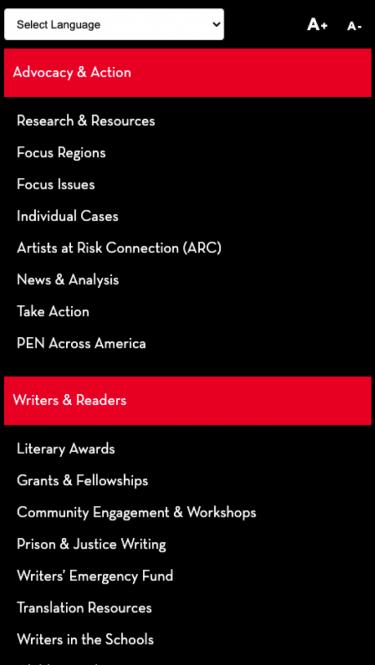 Pen America mobile menu