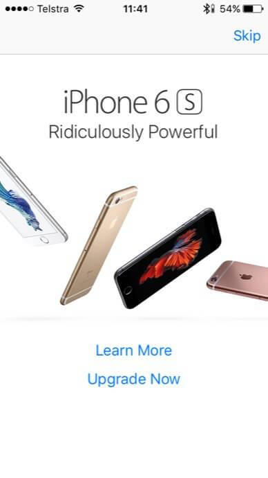 Apple iPhone 6s Werbung im App Store