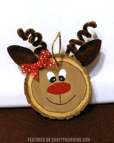 Wood Slice Reindeer DIY Ornament