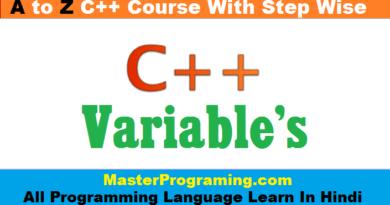 Variables In C++ Hindi
