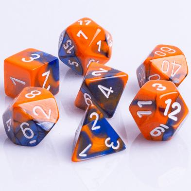 Polydice 7 Dobbelstenenset Gemêleerd Blauw Oranje met Wit D&D dice Oranje Blanje Bleu Dungeons and Dragons RPG