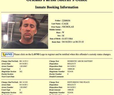 Ficha policial de Nicholas Cage