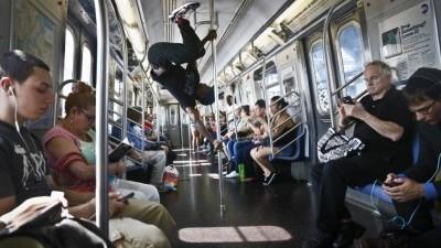 Image: Subway Acrobat mid-performance