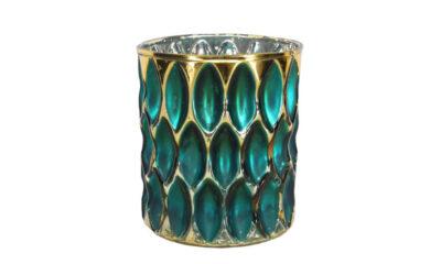 50560 400x240 - teeküünla tops klaasist türkiis/kuld väike