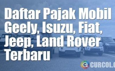 Daftar Pajak Mobil Geely, Fiat, Isuzu, Jeep, dan Land Rover Terbaru