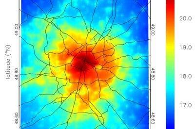 Mean air temperature in Paris, France at 22:00 CESTin summer 2003. Credits: VITO, Planetek.