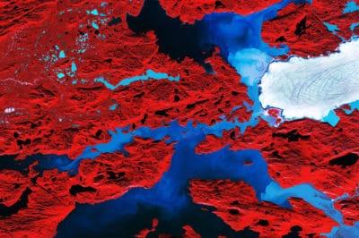Nordenskiold Glacier, Greenland. Image modified Copernicus Sentinel data (2017), processed by ESA, CC BY-SA 3.0 IGO