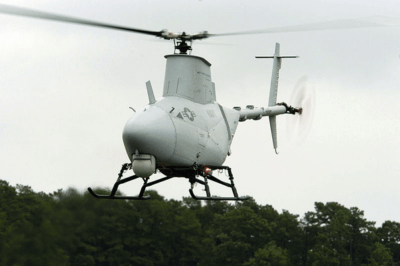 RQ-8A Fire Scout Vertical Takeoff and Landing Tactical Unmanned Aerial Vehicle (VTUAV) System.