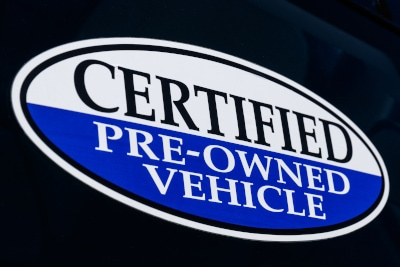 Certified Pre-Owned Vehicle sign