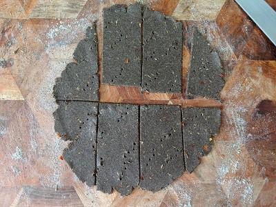 Buckwheat Crackers cut into long strips