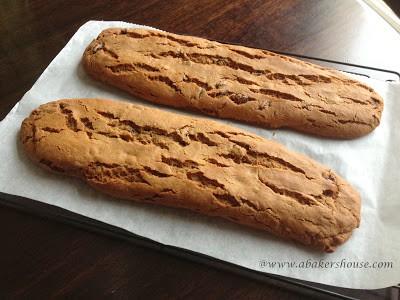 Baked logs of hermit bars similar to biscotti method