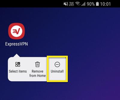 Schermata iniziale di Android con Disinstalla evidenziato.