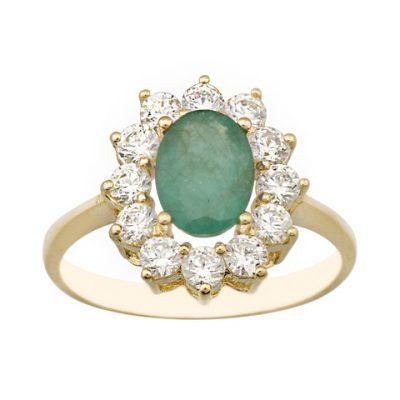 Un anillo de Oro de 1º ley 18 Kt con una piedra central en esmeralda de 8 x 6 y un precioso cuajo de circonitas alrededor.RG Ref; 4778-S-A-ES-CI