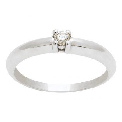 Solitario clásico de diamante en oro blanco 18Kts. Ref; A1030101