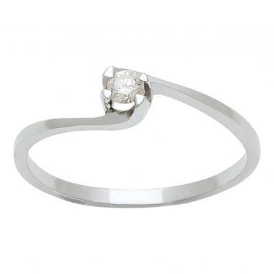 Solitario de diamante en oro blanco 18 Kts. Ref. A1030101
