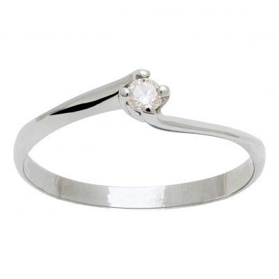 Solitario de diamante en oro blanco 18Kts. Ref. A13901