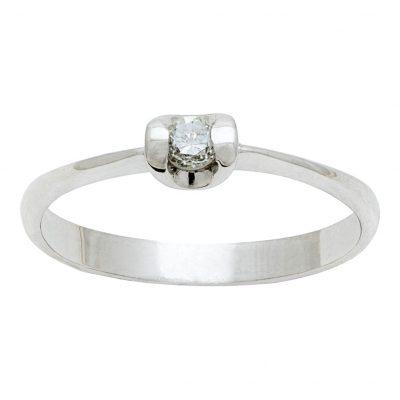 Solitario U de diamante en oro blanco de 18Kts. Ref; A169101