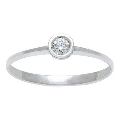 Anillo diamante Oro blanco 18 Kts con boquilla. Ref; A19601