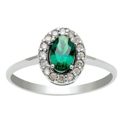 Sortija de esmeralda y diamantes en oro blanco 18Kts. Ref; A19803