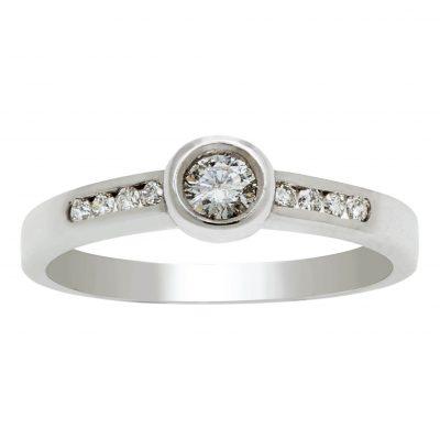 Anillo de compromiso diamantes en oro blanco 18Kts. Ref. A34701