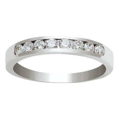 Anillo compromiso media alianza diamantes en oro blanco de 18Kts. Ref. A37601