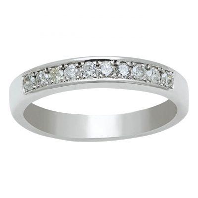 sortija media alianza de diamantes en oro blaco de 18 Kts. Ref. A39901