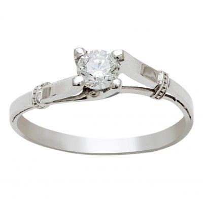 Solitario de Diamante en Oro Blanco 18KTS Ref. A45801