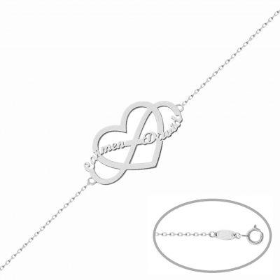 Pulsera infinito y corazon personalizable hasta con 2 nombres en plata de Ley 925mm. L Ref; AG233