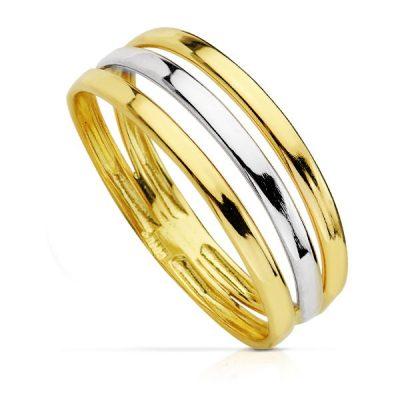 Anillo bicolor tres hilos en oro 1ª Ley de 18 Kts. PM Ref; 14424