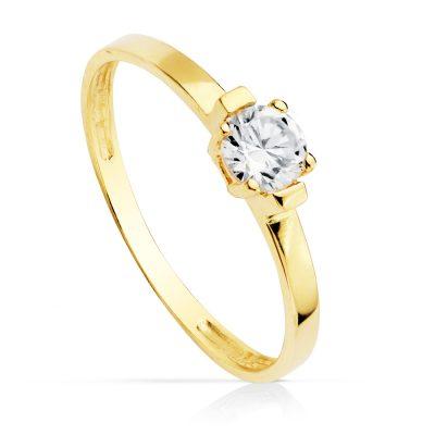 Solitario oro amrillo circonita fabricado en oro 18Kts. Con una piedra central de 4mm engastada con 4 garras. PM Ref; 14755-OA