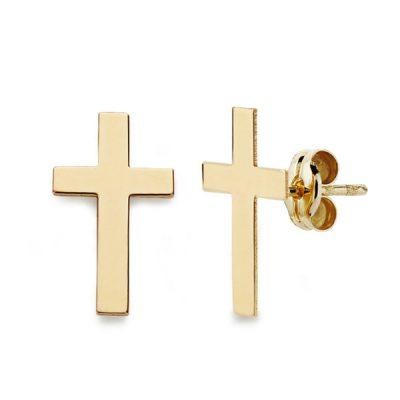 Pendientes cruz oro amarillo 1ªLey de 18Kts. PM Ref; 18636