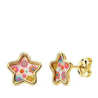 Pendientes estrella nacar colores en oro de 1ªLey 18Kts. PM Ref; 21038