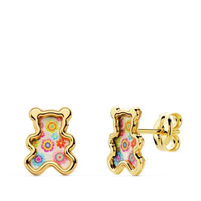 Pendientes osos nacar colores en oro de 1ªLey 18Kts. PM Ref; 21040