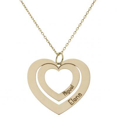 Colgante con corazones nombres en oro amarillo 18Kts. L Ref; G980