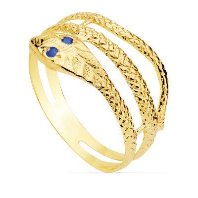 Anillo serpiente fabricada en oro amarillo 18Kts. de 2 vueltas con unas zafiros en los ojos. PM Ref; 9089-ZA