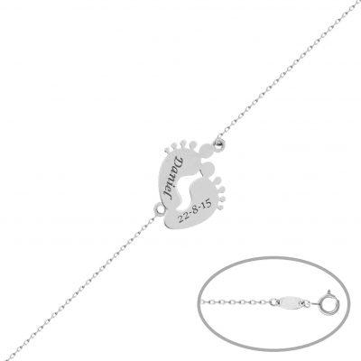Pulsera pies bebe en oro blanco de 18 Kts personalizable con nombre y fecha. Ideal para nacimientos, dia de la madre... L Ref; PU1359