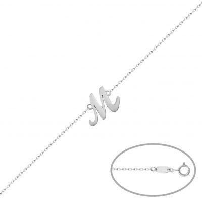 Pulsera inicial letra inglesa en oro blanco 18 Kts. L Ref; PU1355