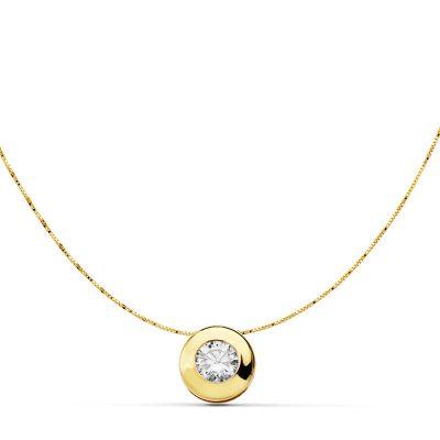 Colgante chatón de 8,5mm en oro amarillo 18Kts. PM Ref; 18240-3