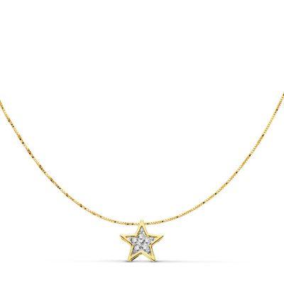 Gargantilla estrella circonitas bicolor oro 18Kts. PM Ref; 18738-3