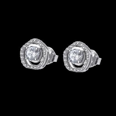 Pendiente Lotus plata circonitas Lp1607-4/1. En este caso viene con una circonita central y un cuajo a su alrededor. Acabado en brillo!