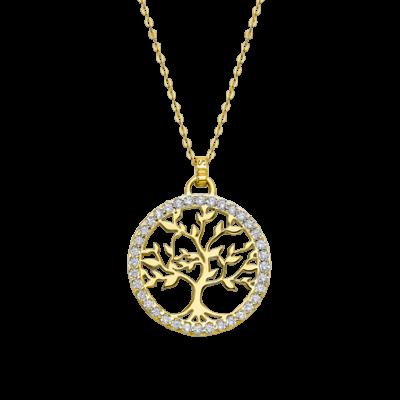 Collar Arbol de la vida plata chapada Ref. LP1746-1/2 Lotus Silver. Precioso collar con colgante árbol de la vida adornado con circonitas en plata de ley 925 mls.