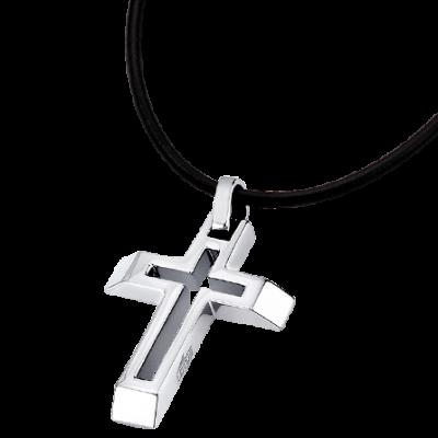 Colgante Lotus cruz LS1683-1/1. La marca Lotus Style saca una colección para hombre en acero inoxidable 316L y cordón de cuero de 50cms ajustable.