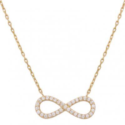 Collar infinito oro circonitas 18Kts. Infinito con circonitas y la terminación es en brillo. Las medidas del motivo son; 7 x 18 mm. L Ref; G666